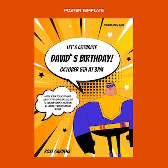 Шаблон вертикального плаката на день рождения с градиентом полутонов