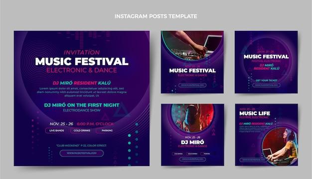 Посты в instagram на музыкальном фестивале градиентных полутонов