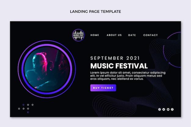 Gradient halftone music festival landing page template