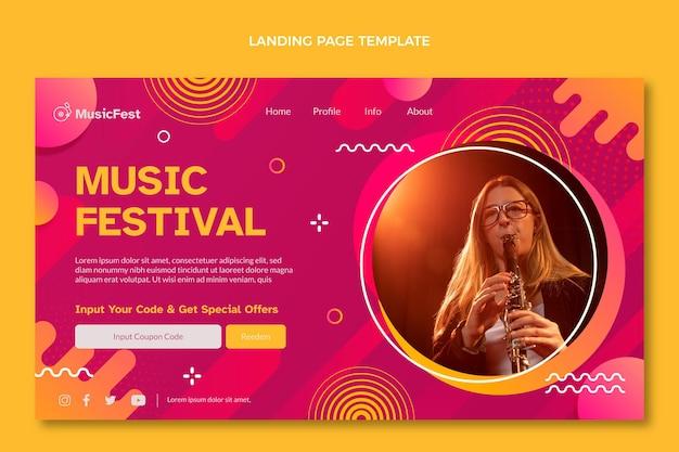 Gradient halftone music festival landing page