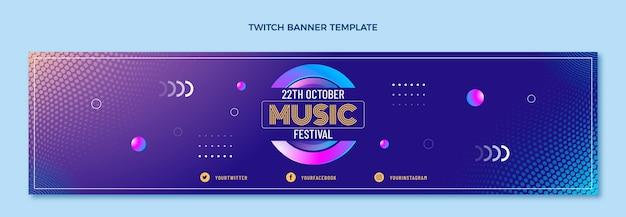 Музыкальный фестиваль градиентных полутонов twitch баннер Бесплатные векторы