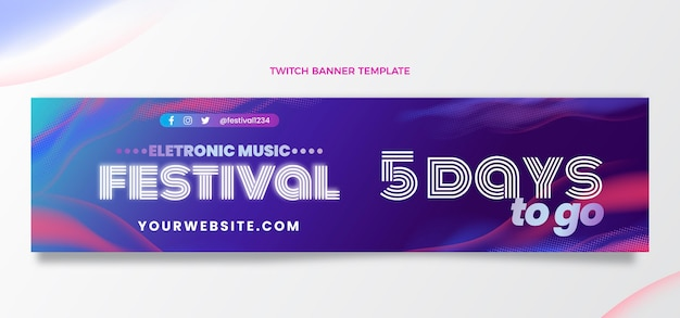 Gradient halftone music festival twitch banner