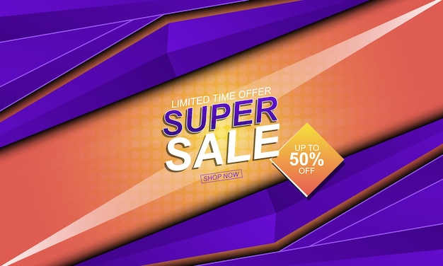 Gradient and halftone sale banner background vector illustration