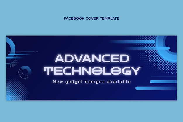 Gradient halftone technology facebook cover