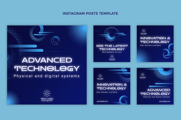 Gradient halftone technology instagram posts