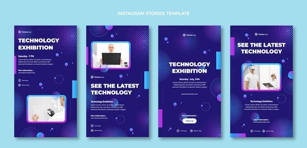 Gradient halftone technology instagram stories Free Vector