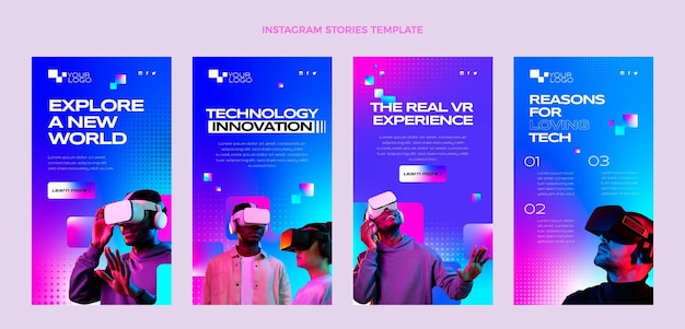 Gradient halftone technology instagram stories