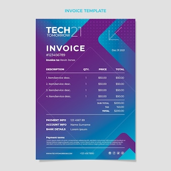 Gradient halftone technology invoice