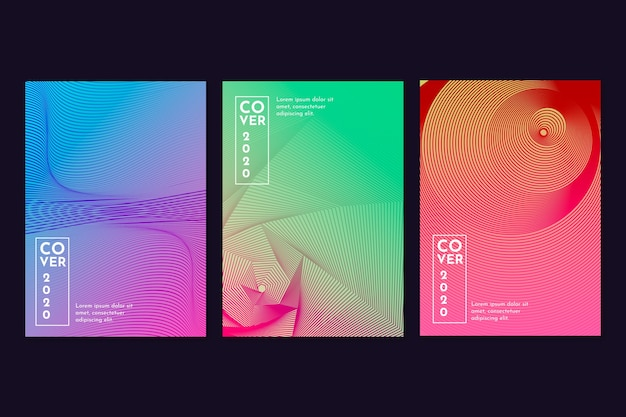 Gradient halftone with small lines concept cover collection