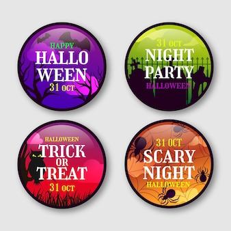 Gradient halloween badges collection