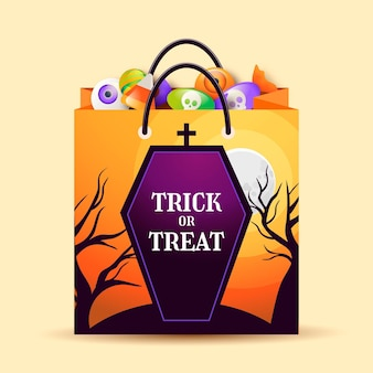 Gradient halloween bag illustration