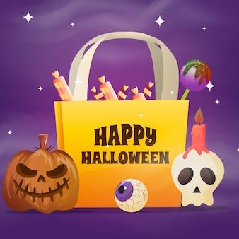 Градиентная иллюстрация сумки на хэллоуин