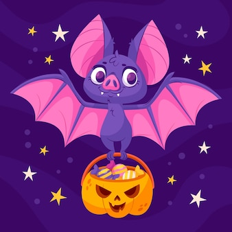 Gradient halloween bat illustration