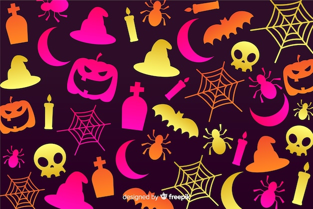 Gradient halloween elements background