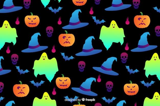 Gradient halloween elements background