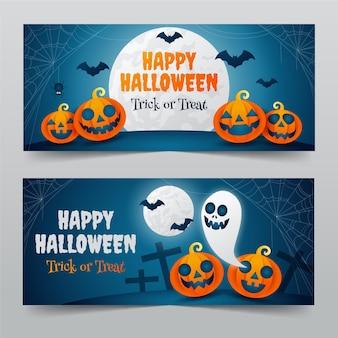 Gradient halloween horizontal banners set