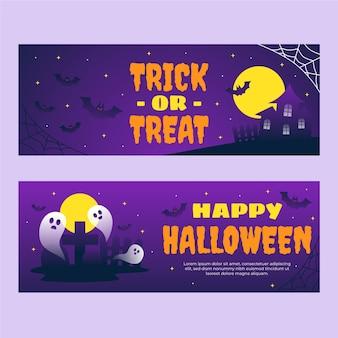 Set di banner orizzontali sfumati di halloween
