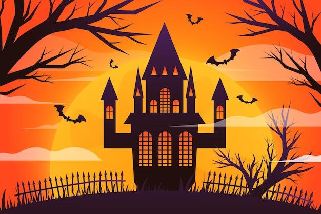 Gradient halloween house illustration
