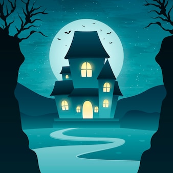 그라데이션 할로윈 집 그림