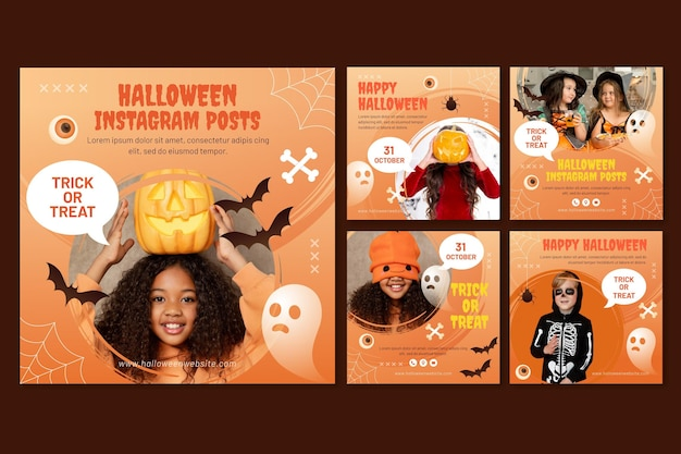 Gradient halloween instagram posts collection with photo