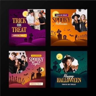 Gradient halloween instagram posts collection with photoinstagram stories collection
