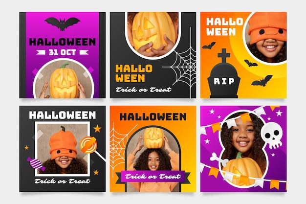 Gradient halloween instagram posts collection