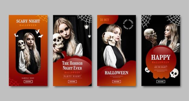Gradient halloween instagram stories collection with photo