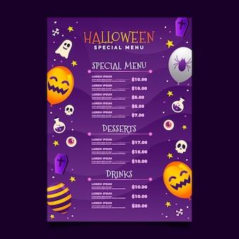 Gradient halloween menu template
