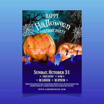 Шаблон плаката градиентной вечеринки на хэллоуин с фото