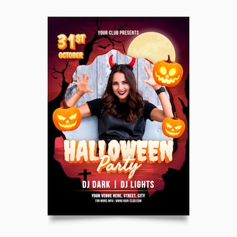 Gradient halloween party poster template with photo