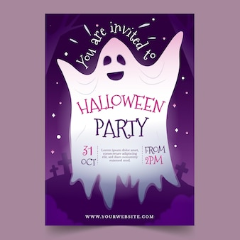 Gradient halloween party poster template