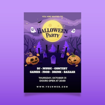 Шаблон вертикального плаката градиентной вечеринки на хэллоуин