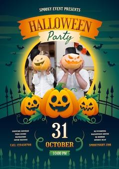 Gradient halloween party vertical poster template