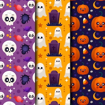Gradient halloween patterns collection
