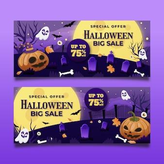 Set di banner di vendita di halloween sfumato