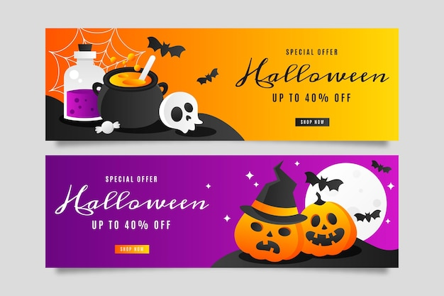 Set di banner orizzontali di vendita di halloween sfumato