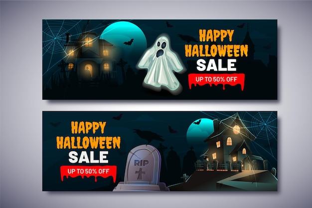Gradient halloween sale horizontal banners set