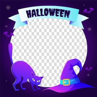 Gradient halloween social media frame template