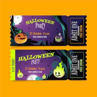 Gradient halloween tickets set