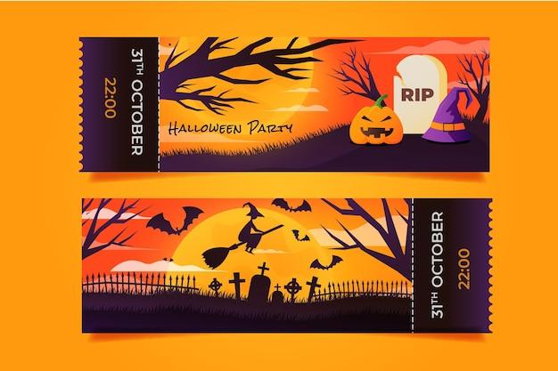Gradient halloween tickets template