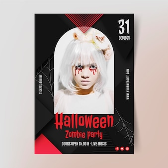Gradient halloween vertical party flyer template with photo