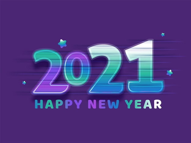Gradient happy new year text with glossy stars on purple background.
