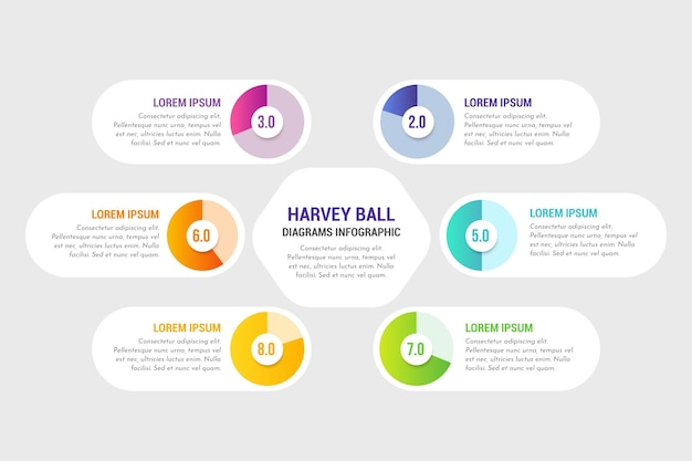 Gradient harvey ball diagrams infographic