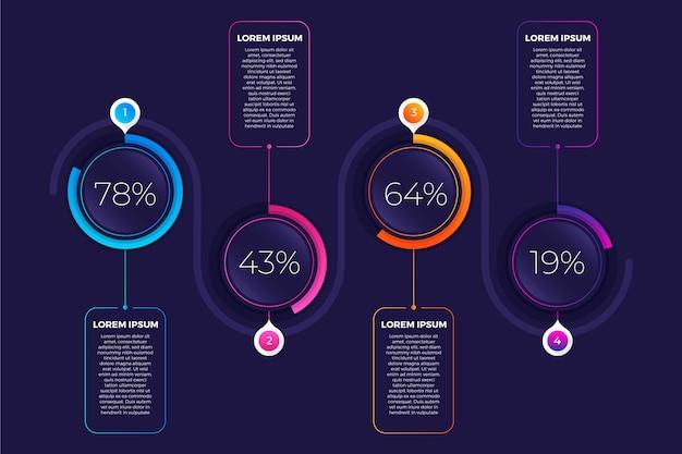 Gradient harvey ball diagrams infographic