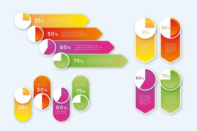 Gradient harvey ball diagrams - infographic