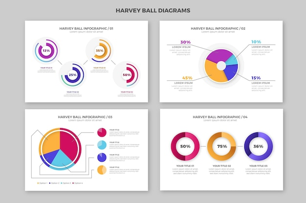 Gradient harvey ball diagrams - infographic