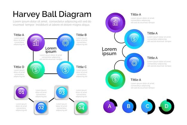 グラデーションハーベイボール図のインフォグラフィック