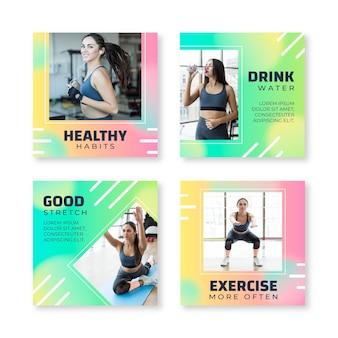 写真付きのグラデーションの健康とフィットネスのinstagramの投稿コレクション