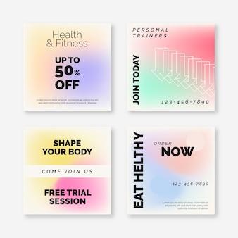 Коллекция постов в instagram с градиентом здоровья и фитнеса