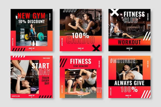 Gradient health and fitness instagram posts collection with photo